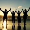 Family Fellowship Holding Hands Raised Silhouette